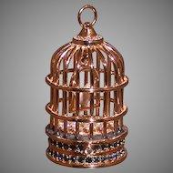 Estee Lauder Solid Perfume Compact, Birdcage w/Bird, Austrian Crystals