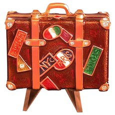 Estee Lauder Solid Perfume Figural Compact, Suitcase w/Travel Stickers