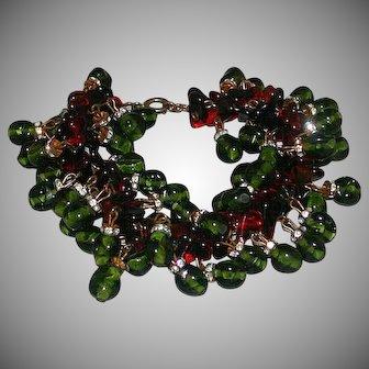 Vintage Red And Green Glass, Rhinestone Rondelle Bracelet