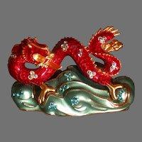 Estee Lauder Figural Asian Dragon Solid Perfume Compact, Enamel