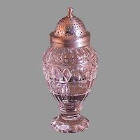 Late 19th Century Muffineer, Glass And Irish Silver Top