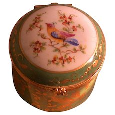 French Porcelain Hand Painted Box, Metal Mounts, Marked