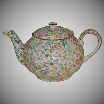 Wildflower/Berry Pattern Staffordshire Fine Earthenware Teapot, English, Vintage