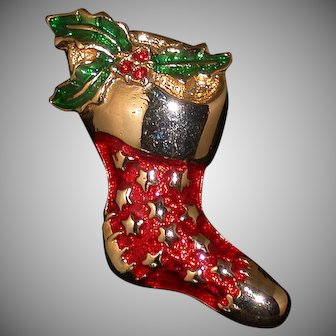 Danecraft Christmas Stocking Pin w/Enamel and Red Rhinestones