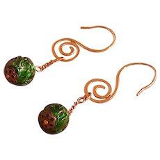 Emerald Green Glass Bead Dangle Earrings, Unusual Earwire