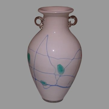 Cased Glass Vase, White & Clear With Stylized Leaves/Vines