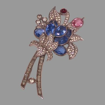 Pennino Pin With Blue, Pink, Red and Clear Glass & Rhinestones