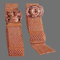 14K Gold Victorian Pair of Mesh Bracelets w/Taille d'Epargne Plaques