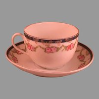 """Vintage Cup & Saucer with Floral Motif, Marked """"Mosanic Bavaria"""""""