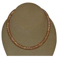 Swarovski Golden Stardust Crystals, Mesh Necklace
