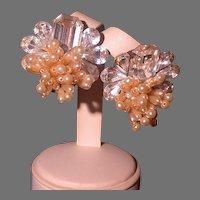 Bold Rhinestone/Faux Pearls Post Earrings Circa 1980's