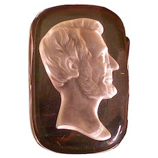 Antique Libbey Glass Lincoln Paperweight, Intaglio, Frosted Right Profile, 1893