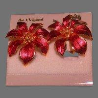 Vintage Cerrito Poinsettia Earclips, Circa 1980's