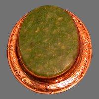 12K Gold Filled Oval Framed Green Stone Pin/Pendant, Antique