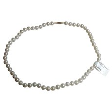 Vintage 16-Inch Cultured Pearl Choker With 14K Gold Clasp, New Old Stock