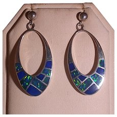 Sterling, Lapis & Synthetic Opal Native American/Navajo Earrings, Marked Treme