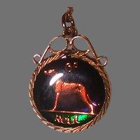 Enameled Irish Sixpence Coin Wolfhound 1947 Pendant