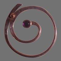 Sterling, 14K, Amethyst Tack Pin by Ballou