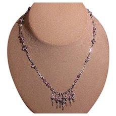 Vintage Amethyst/Clear Quartz Multi Bead Choker Necklace