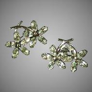 Krementz Vintage Floral Rhinestone Screwback Earrings, C. 1950s