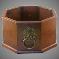 Walnut Planter/Wine Holder, Lion Handles,  Vintage