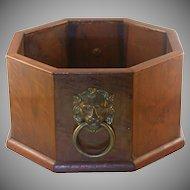 Walnut Planter/Wine Holder, Lion Handles,  Vintage