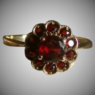 Victorian Period Garnet Flower Ring, Size 8, Classic!