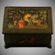 Russian Lacquer Box, Palekh, Signed, Dated U.S.S.R 1990