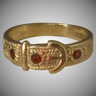 Garnet and 9K Gold Buckle Ring, Late Victorian, Size 6.75
