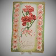 Easter Postcard, Pink Flowers & Canadian Postage Stamp
