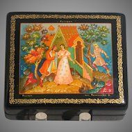Russian Lacquer Box, Soviet Era, Artist Signed, Fairy Tale Theme