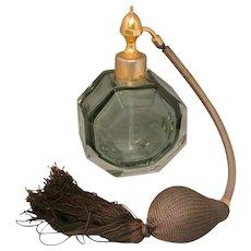 Art Deco Marcel Franck Crystal Perfume Atomizer, Marked