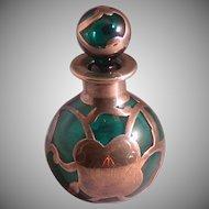 Art Nouveau Period Emerald Green Perfume Bottle, Silver Overlay