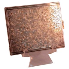 Silverplate Cigarette Case With Scrollwork and Chasing