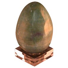 Green Striated Stone Egg, Decorative Item