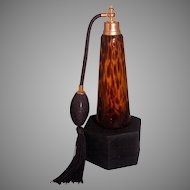 Tortoise Shell Glass Perfume Atomizer, 7.5-inch tall, Lovely!
