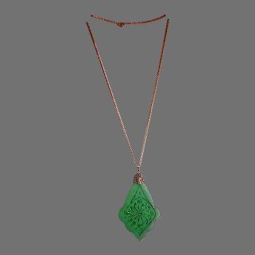 Art Deco Period Czech Glass Emerald Green Pendant on Chain