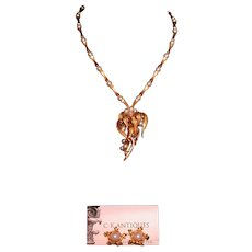 Marcel Boucher Necklace/Earclips, Faux Pearls/Bamboo Motif