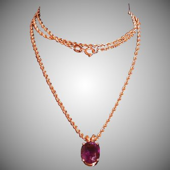 Amethyst/14K Gold Pendant On 14K Twisted Rope 20-in. Chain