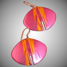 Holly Yashi Designer Signed Dangle Earrings, Vintage 1990's