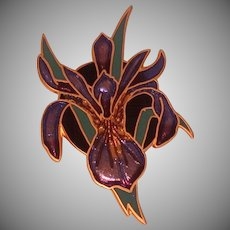 Enameled Iris Pin, Signed Wm. Spear, 1991 Vintage