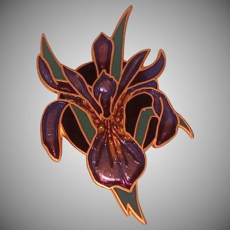 Enameled Iris Pin, Signed Wm. Spear, 1991 Vintage