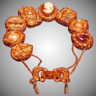 Victorian Style Slide Bracelet , 8 slides, Circa 1960s
