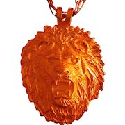 """Vintage Crown Trifari Figural Lion Pendant, 24"""" Length Chain"""