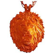 "Vintage Crown Trifari Figural Lion Pendant, 24"" Length Chain"