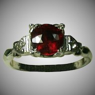 Vintage Sterling Lady's Ring W/Synthetic Ruby/Clear Stones