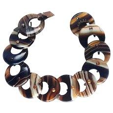 Beautiful Victorian Brown Banded Scottish Agate Disk Bracelet