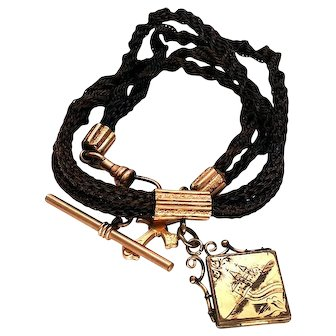 Victorian Woven Hair Gold Filled Mourning Watch Chain Necklace
