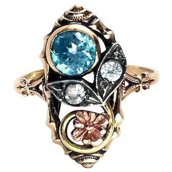 Sweet Art Nouveau 10K Gold Blue Zircon & Diamond Spinel Ring