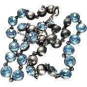 Rare Georgian Blue Paste Sterling Silver Rivière Necklace